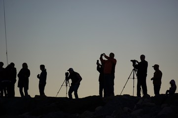 Photographers taking photos of the super moon