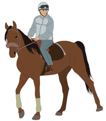 man riding a horse - vector