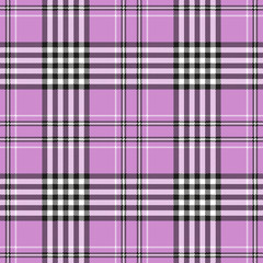 Seamless tartan plaid pattern in pink, white & black. Traditional checkered design print. Plaid fabric texture background.