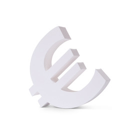 Isolated white euro currency symbol
