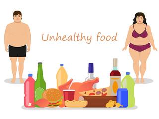 Vector cartoon female male obesity. Unhealthy food