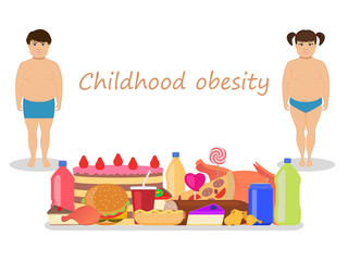 Vector cartoon childhood obesity. Children obese