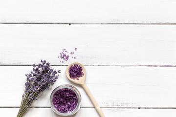 lavender bath salt on wooden table top view