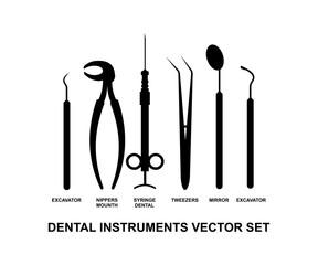 Dental Instrument Vector Set Tool Logo Design