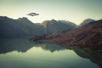 Wall Murals UFO UFO Spaceship with water and mountains.