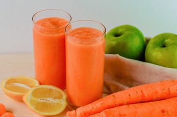 Fruit juice with orange, carrots and ginger