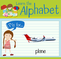 Flashcard letter P is for plane