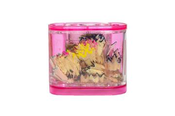 Transparent pink pencil sharpener with shavings