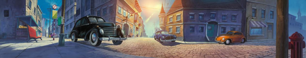 Classic car parked in old town painted illustration
