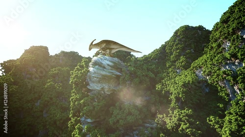 Dinosaurs on the rocky cliffs. prehistoric nature. 3d rendering.