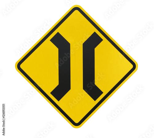 quotnarrow bridge sign isolated on white backgroundquot stock