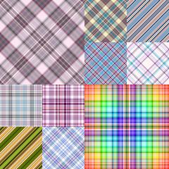 Set colorful geometric seamless patterns