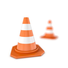 Rendering of close-up traffic cone and one standing in the distance with bokeh effect, isolated on the white background.