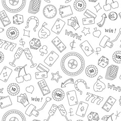 Seamless pattern on the theme of gambling and money simple contour icons on white background