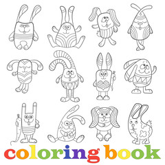 Illustration with set of contour funny rabbits, coloring book