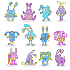 Set of funny colored rabbits on a white background isolated