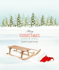 Winter Christmas background with a sleigh and a santa hat. Vecto