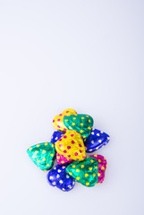 Chocolate or Colorful heart shape chocolate on a background.