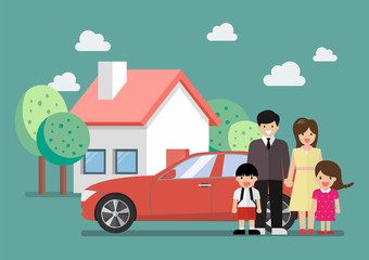 Happy family standing against car and house