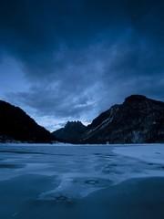 Frozen Predil lake, Travisio, Italy