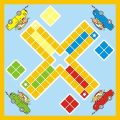 ludo, game with car and children, vector