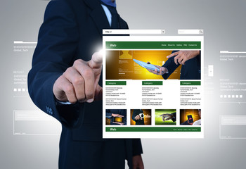 business man showing web page