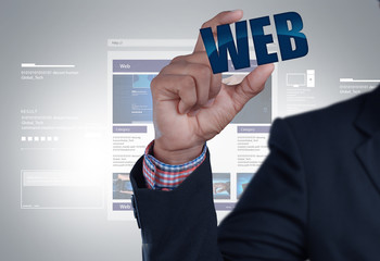 business man showing web icon