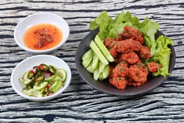 Thai food,Curried fish cake (Tod Mun Pla Krai)