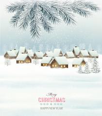 Photo sur Plexiglas Winter christmas background with a snowy village landscape. Vect