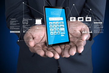 Man hand showing Tablet pc with password protection