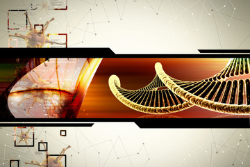 DNA in color background