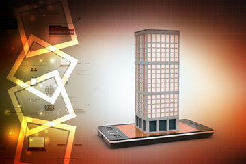 Smart phone and building with real estate concept in color background