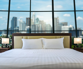 Luxury Interior bedroom with windows glass beside abstract Blurr