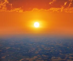 Fototapete - sunrise or sunset, bird's-eye view