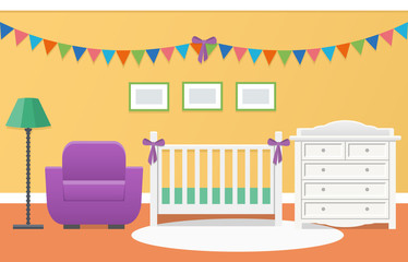 Baby room interior with white crib and changing table for newborn in flat style. Modern colorful nursery design. Vector illustration.