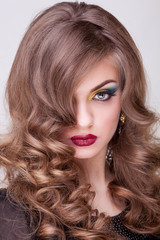 Woman with perfect make up and hairstyle
