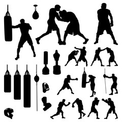 Boxer Boxing Fighter and Equipment Accessories Silhouette Set