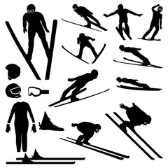 Ski Jumper Jumping Flying High with Equipment Silhouette Set
