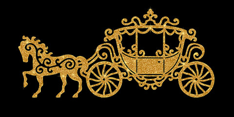 Horse carriage golden silhouette. Vector illustration. Art silver glitter icon. Creative concept for web, glow light confetti, bright sequins, sparkle tinsel, abstract bling, shimmer dust.