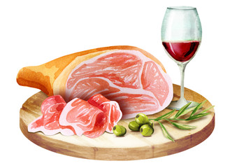 Prosciutto and glass of wine on the platter. Watercolor