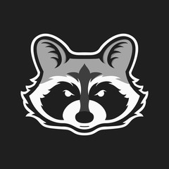 Raccoons head logo for sport club or team. Animal mascot logotype. Template. Vector illustration.