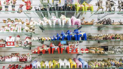 showcase souvenir shop in Stockholm. traditional Swedish souveni