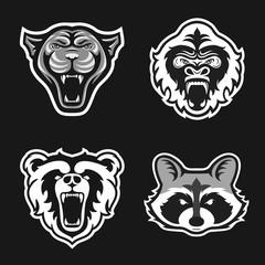 Set of logos for sport team. Panthers, Gorillas, Bears, Raccoons. Animal mascot logotype. Template. Vector illustration.