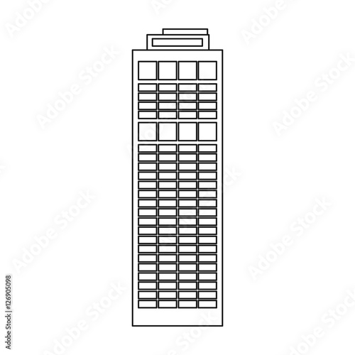 Quot Skyscraper Icon In Outline Style Isolated On White