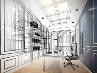 sketch design of working room ,3dwire frame render