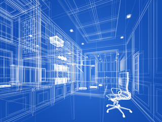 sketch design of working room ,3dwire frame render