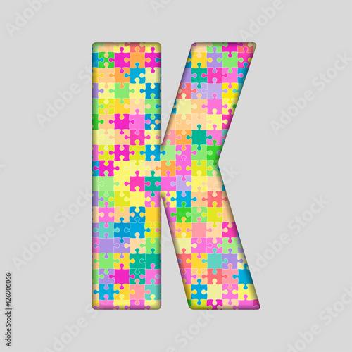 Vector Color Piece Puzzle Jigsaw Letter