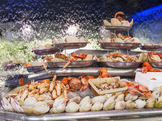 PARIS, FRANCE, on JULY 10, 2016. Various seafood on a street show-window of shop