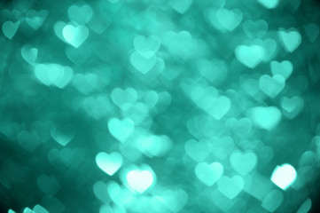 emerald heart bokeh background photo, abstract holiday backdrop