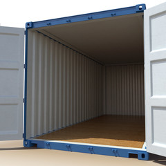 opened blue cargo container isolated on over white. 3D illustration